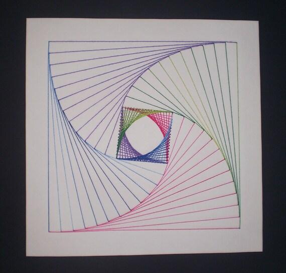 Line Design String Art : Items similar to original handmade parabolic line design