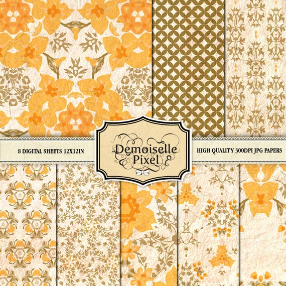 Digital Papers for Scrapbook, Cards, Crafts - Printable vintage floral designs in warm yellow tones