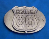 Route 66 Belt Buckle, Handmade, Nickel Free, Lead Free Pewter