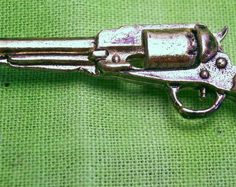 44 Cal. Percussion Pistol, Lapel Pin, Handmade, Lead Free Pewter