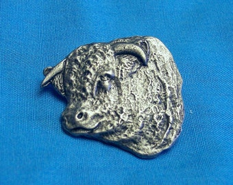 Hereford Bull Face, Clutch Back Pin, Handmade, Lead Free, Nickel Plate