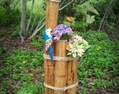 BAMBOO SOLAR LIGHT / Blue Parrot and Flowers-Bright, Beautiful and Artificial