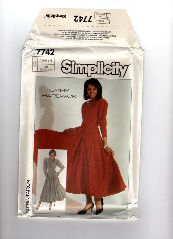 Vintage Simplicity Dress Pattern - Cathy Hardwick Design - size 12-14-16 - Uncut