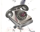 Rotary Phone in SIlver - Giclee Print - Fine Art illustration