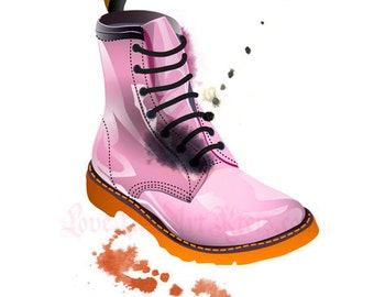 Doc Martens Boot in Pink - Fashion Illustration - POSTCARD
