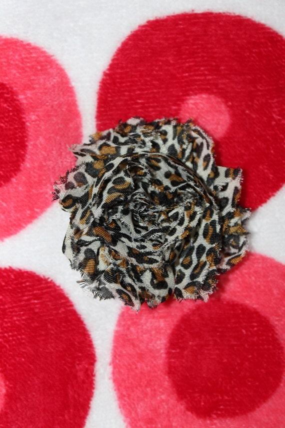 Shabby Chiffon Leopard/ cheetah print flower hair clip