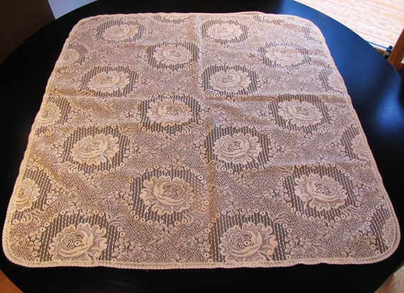 vintage cream shabby chic lace tablecloth
