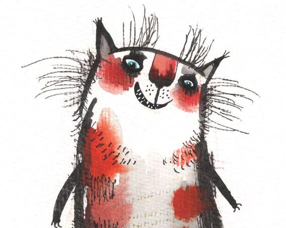 The Belka cat (original painting)