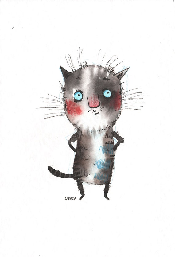 The deep thinking cat, original painting by ozozo