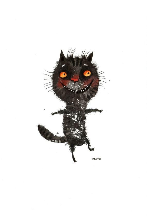 The dancing black cat, original painting by ozozo