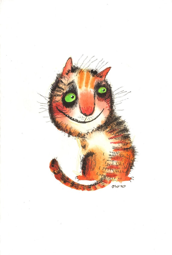The looking back cat, original painting by ozozo