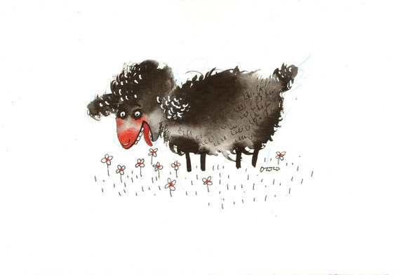 The black sheep having breakfast, original painting by ozozo