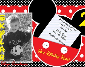 Mickey Mouse Invitations, Mickey Mouse birthday