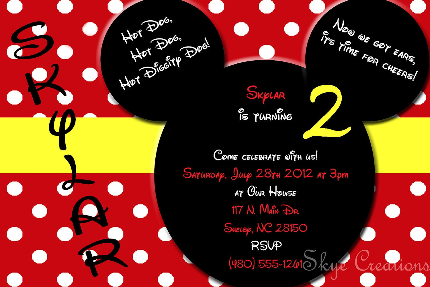 custom mickey mouse invitation or thank you card by skyecreation
