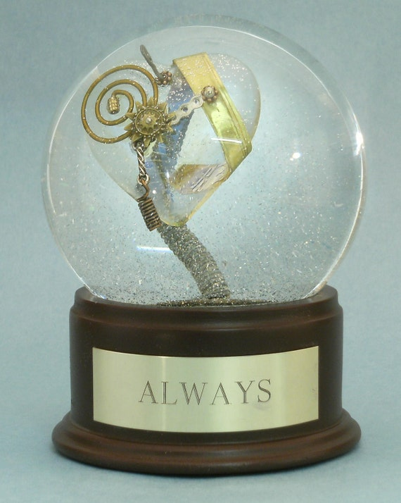 ALWAYS -- OOAK custom waterglobe (snow globe) with iridescent steampunk heart and metal details