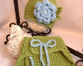 Crochet Hat and Diaper Cover Set, Green and Blue, up to 3 months, Photo prop, Ready to ship