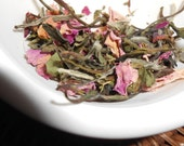 Organic SWEET BLUSH Artisan Tea Blend - White Peony Tea, Pink Rose Petals, Stevia Leaf - Light and Refreshing - One OUNCE - 15-20 Cups