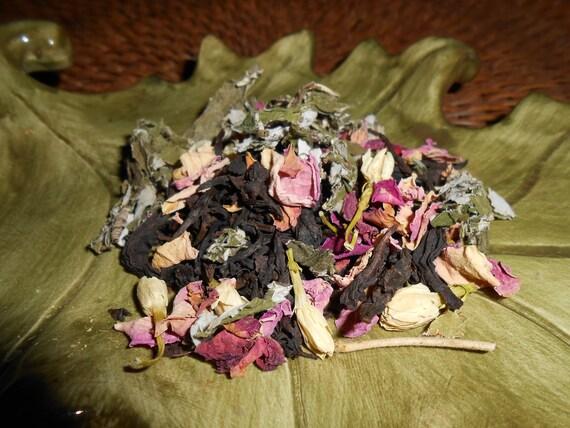 Organic OOLONG REVERIE Artisan Tea Blend - Oolong, Roses, Jasmine Flowers, Raspberry Leaves - Floral, Fruity, Fresh - One Ounce = 15-25 Cups