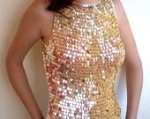 VINTAGE 80s Clothing Crochet Gold Sequins Tunic Top Vest Tank T-Shirt