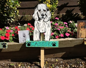Handpainted Poodle Garden Stake created from your pet's photo