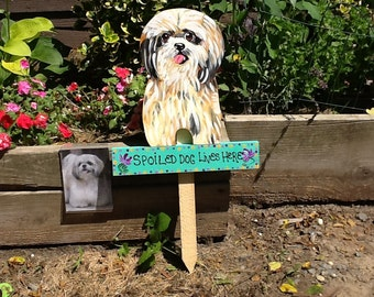 Shih Tzu Garden Stake Lawn Ornament From Your Petu0027s Photo