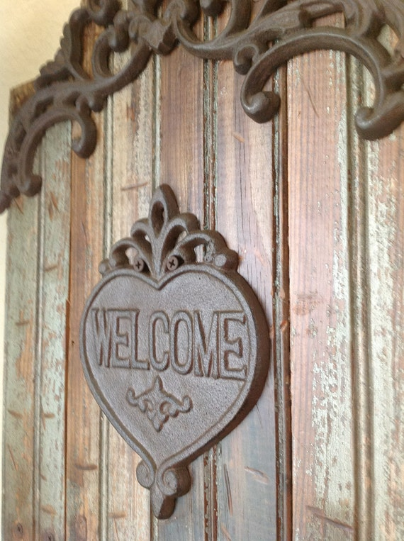 Salvaged Ornate Bead Board Welcome Wall Hanging