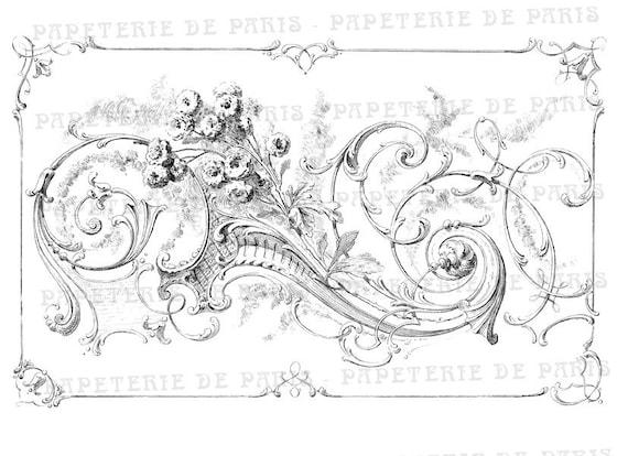 Vintage french frame pattern digital collage sheet - Digital Download, Ephemera, Full Page, Labels, Card Making, Embellisment, Tag, Pillows,