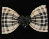"7/8"" Natural Blackberry Plaid Dog Bow"