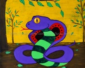 Whimsical Mixed Media Snake Painting - Why Fit In - Original 15.5x15.5 Painting on stretched canvas