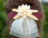 Cream Dried Flower with Wheat and mini Veil (wedding)