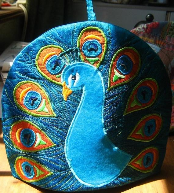 Embroidered Silk Peacock Tea Cosy