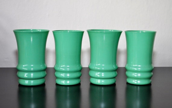 Vintage Turquoise Green Glasses Set - Retro and Fun