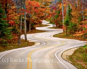 HDR Photography, HDR Photo of Curvy Road, Door County WI, 8x10 Print