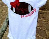 Girls Football Bow Personalized Appliqué  Team Shirt (Any team)