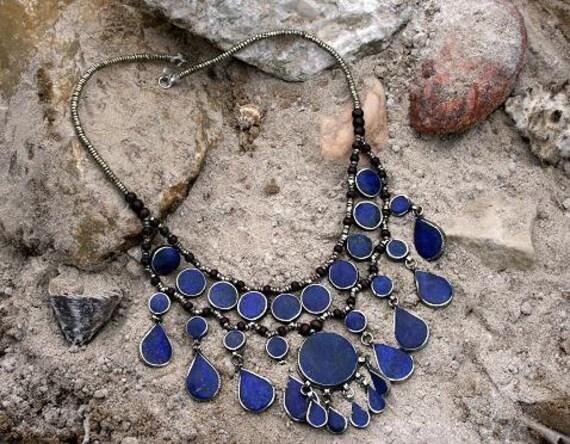 Vintage Afghan Lapis Lazuli Pendant Necklace