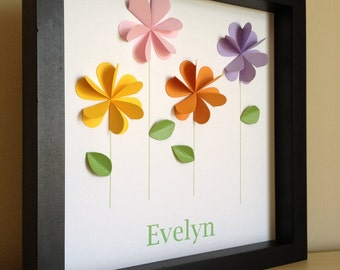 Colorful Flowers 3D Paper Art - perfect for little girl's room. made to order,PERSONALIZED with your colors and name