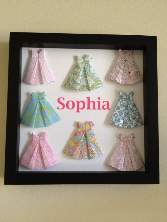 Personalized Dress 3D art, made to order with your colors and name, great for new baby GIRL or big girl room