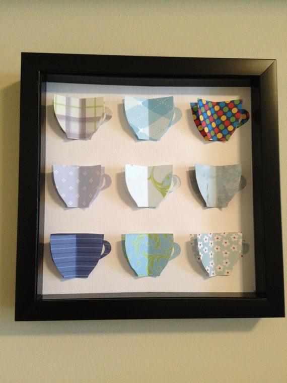 Blue Tea Cups, 3D Paper Art
