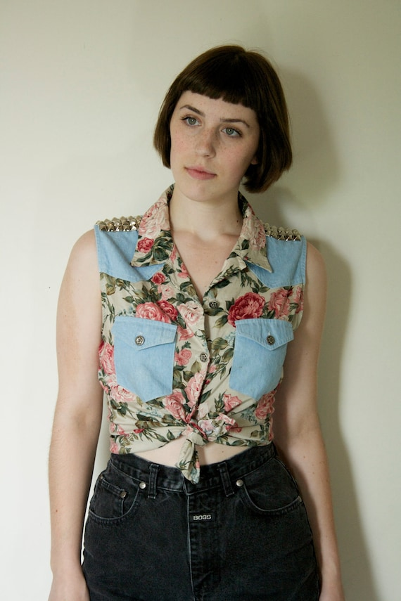 Sweetly Studded Denim and Floral Sleeveless Button Up Blouse