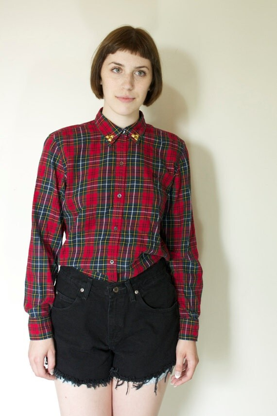 Chaps Red Plaid Button Down with Gold Studs on the Collar