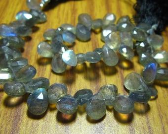"Labradorite Faceted Pear Briolette- 8"" Strand -Stones measure -8x6-9x6mm"