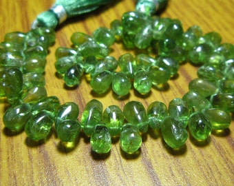 """AA-Green Apatite Smooth Tear Drops- 7"""" Strand -Stones measure-6x4-9x5mm"""
