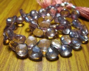 "Copper Mystic Natural Quartz Faceted Heart Briolette- 8"" Strand -Stones measure- 6-8mm"