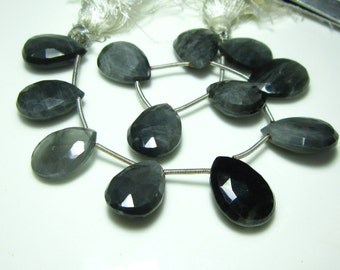 """AA-Gray Cats Eye Faceted Big Pear Briolettes- 8"""" Strand -Stones measure- 13x17-13x19mm"""