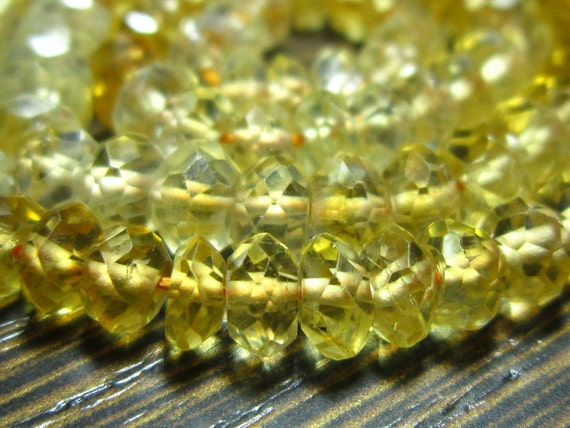 "Citrine Faceted Shaded Rondelle- 14"" Strand -Stones measure- 4-6mm"