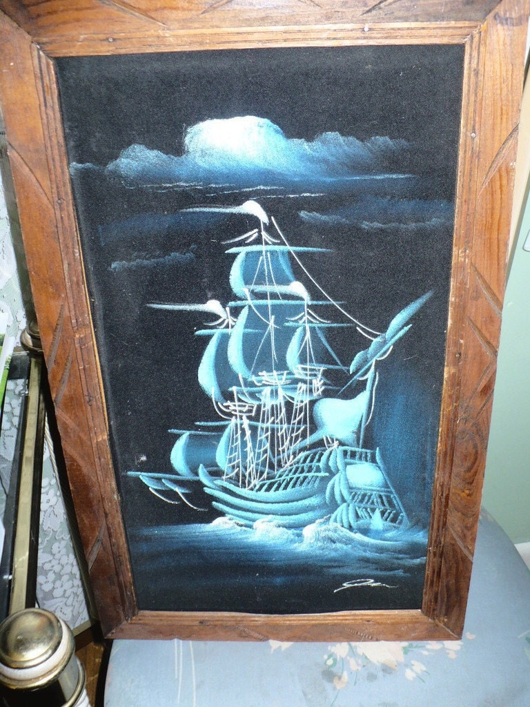 Vintage Black Velvet Mast Ship Painting W Wood Frame