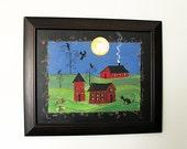 Folk Art Painting Rural Primitive Farm Cat Ravens Crows Vines Outsider Art OOAK