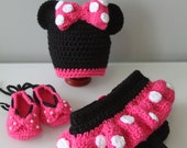 Crochet Minnie Mouse Hat, Diaper cover with Skirt and Shoes - PDF Pattern 0-3 mo size