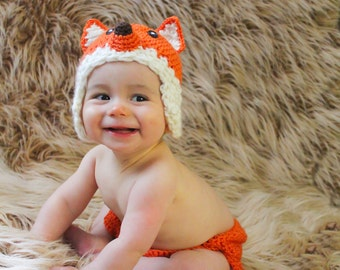 Crochet Fox Hat and Diaper cover  - PDF Pattern (5 sizes)