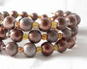 Memory Wire Bracelet, Copper Beads, Czech Glass Beads, Amber Beads, Bronze Beads, Speckled Beads, Mother of the Bride, Earth Tones